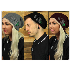 Slouch Beanie - (Grey/Black/Burgundy)