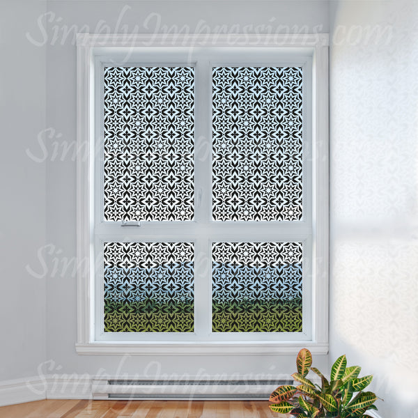 Modern Muslim Islamic Window Decal Sticker Geometric Pattern Artwork Lets light trough and gives privacy from outdoors. Custom size and color. Arabic lattice ancient repeating pattern floral art. Place vinyl on walls & glass.