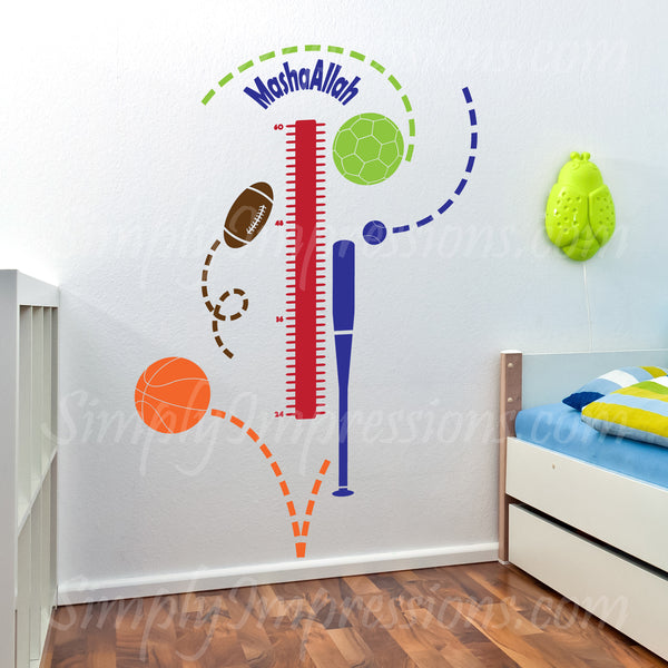 SALE-  Sports Theme Growth Chart With MashaAllah