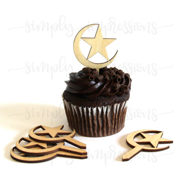 Moon and Star Cake Topper Pack of 6 Ramadan and Eid decorations https://www.simplyimpressions.com/products/moon-and-star-cake-topper-pack-of-6-12 Made of Baltic birch wood decor ideal for cupcake and parties hand finished and stained in walnut mahogany pecan oak painted in gold silver black white