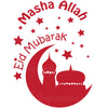 Eid Mubarak & Masha Allah Moon and Mosque - English