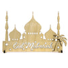 Eid Ramadan Mubarak Mosque Decoration wood cutout centerpiece engraved Islamic themed Free standing Masjid with palm trees and building. Intricate cut decor in 9 finishes hand painted art festive gift idea for Muslim celebration