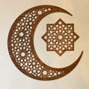 Large Geometric Moon & Star Wood Cutout