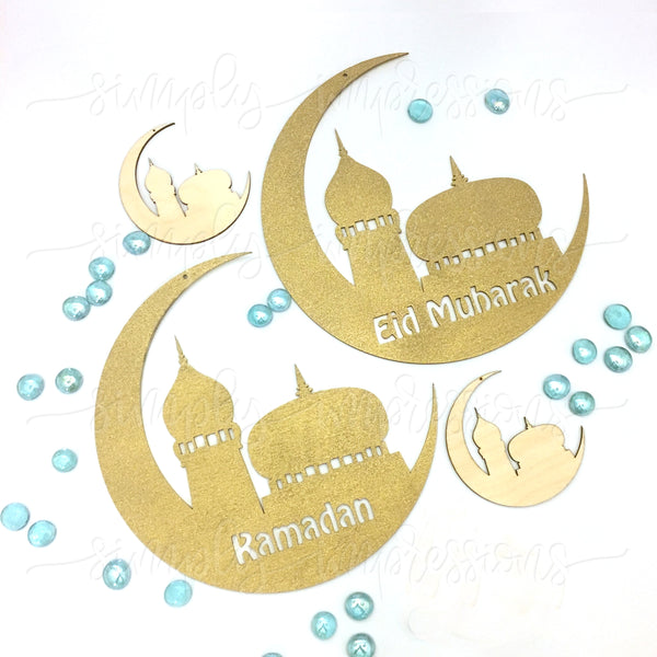 Moon & Mosque Eid / Ramadan Mubarak Wood Cutout