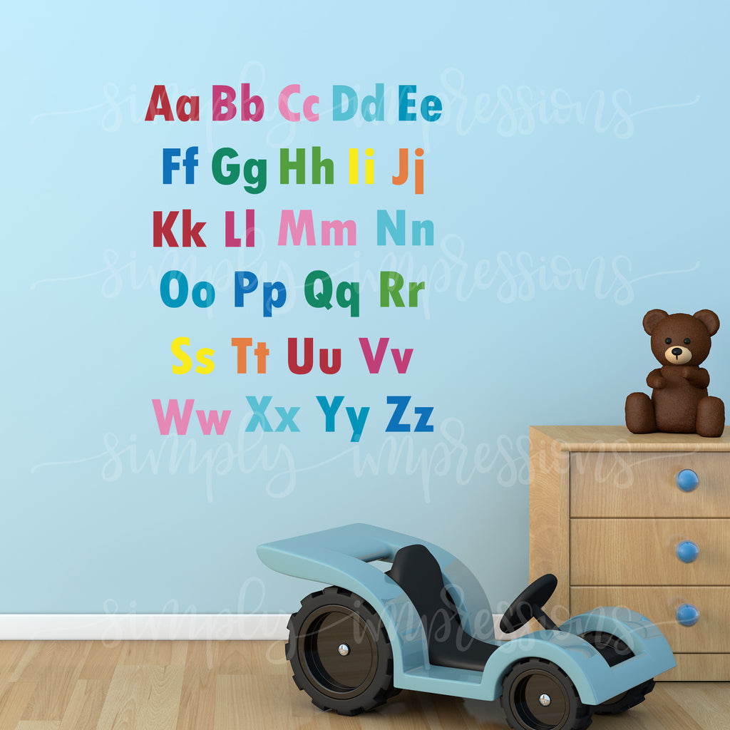 Rainbow English Alphabet decals stickers colorful wall art decoration Modern decor easy to read 26 letters for the school classroom playroom nursery  made of vinyl easy to apply in custom colors. Gifts for Ramadan Eid, baby shower