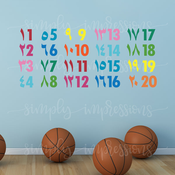 Colorful children Arabic English Numbers wall art decal decoration Muslim Islamic Stickers for classroom playroom nursery decor for kids makes learning fun easy to apply free of toxins great as Ramadan and Eid gift & babyshower