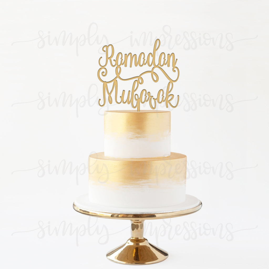 Wood cutout Ramadan Eid Mubarak Cake Topper Custom Finish Reusable Beautiful intricate sculpture decor laser design Muslim Islamic holiday al Fitr ul Adha festive decoration center piece in gold silver black white and stain.