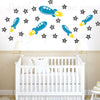 Arabic English Alphabet  rockets & stars Modern Islamic decals designs Our Muslim decorations will teach your child to learn the letters with colorful custom wall art ideal for the mosque masjid school playrooms Muslim decorations
