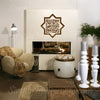 Bismillah ir rahman niraheem Modern Islamic Wall Art Decal calligraphy بسم الله الرحمن الرحيم geometric star cutoutwith Arabic in squarekufic sticker decoration for Muslims, gift Eid Ramadan weddings presents hand painted effect