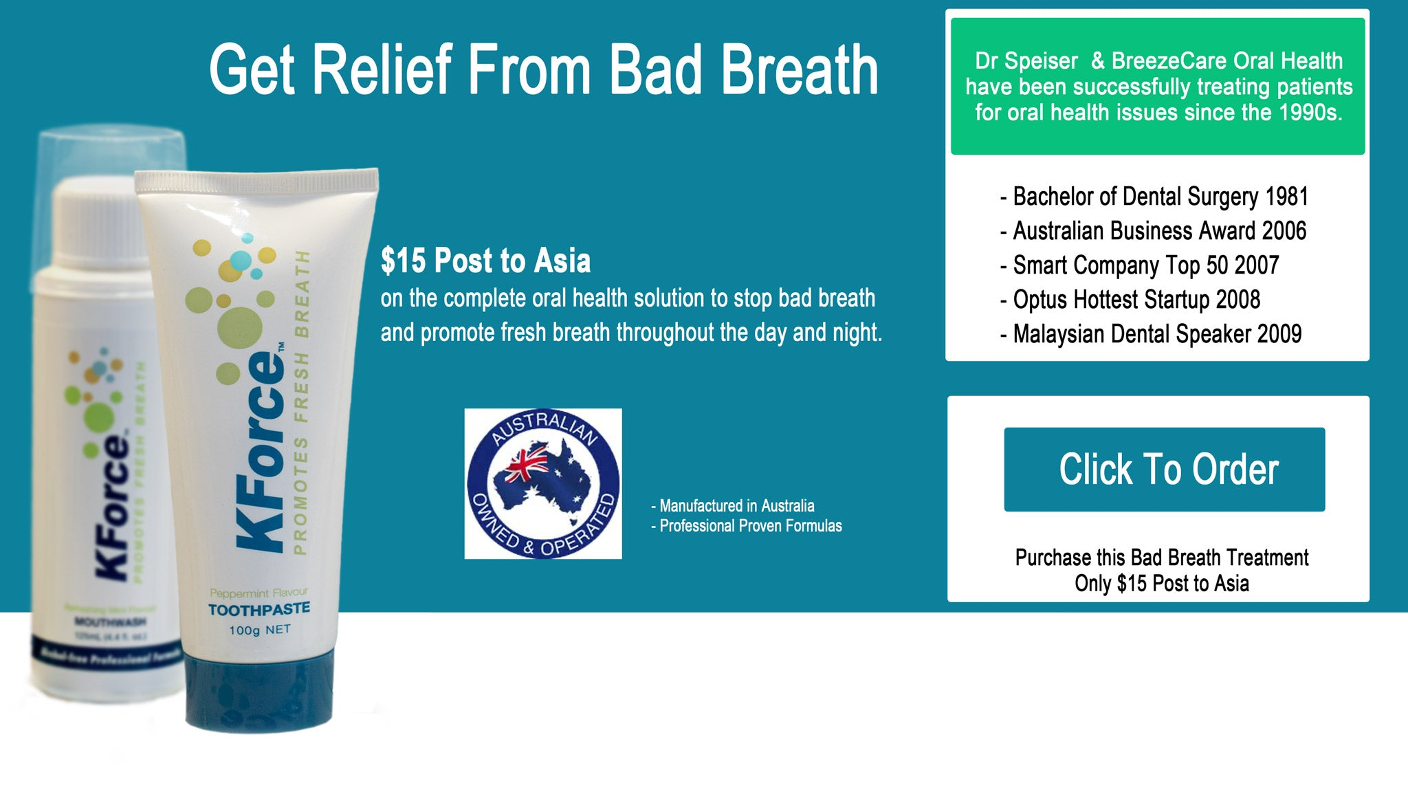 KForce Bad Breath Treatment For Asia with $15 Post