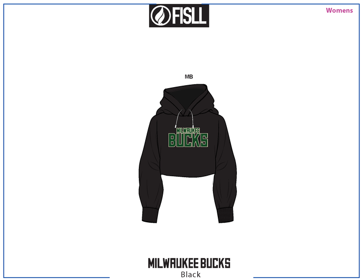 FISLL/NBA Milwaukee Bucks Cropped Women's Hoodie