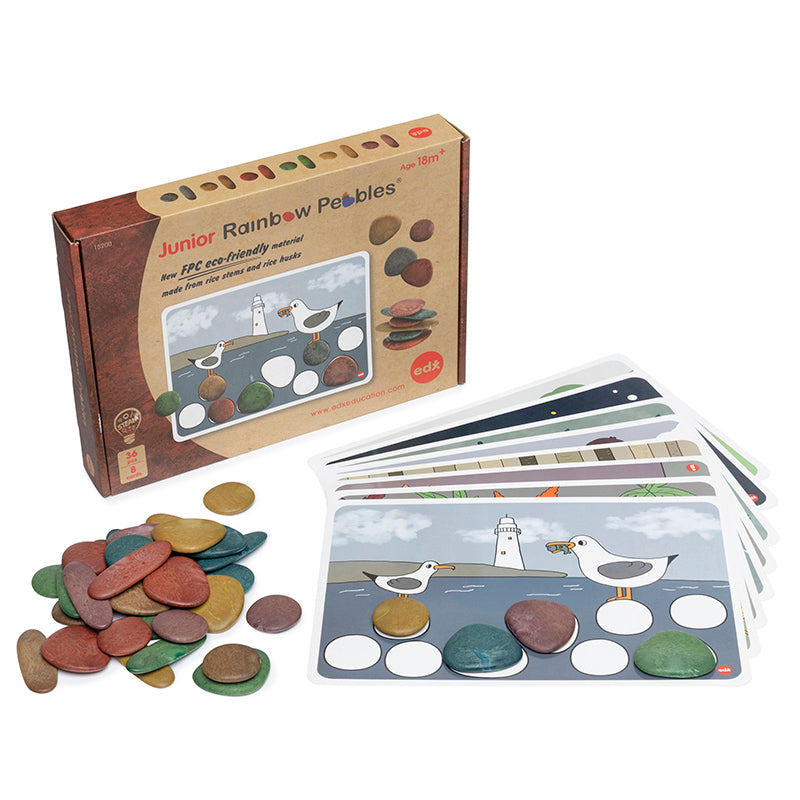 Rainbow Pebbles and Cards Set of 36 Earth Tones