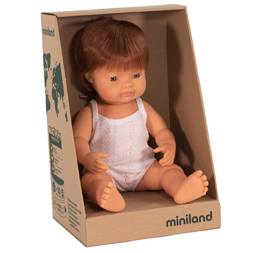 Miniland Doll Caucasian Red Head Boy 38cm Box
