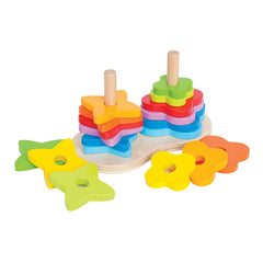 Hape Double Rainbow Stacker Pieces Off