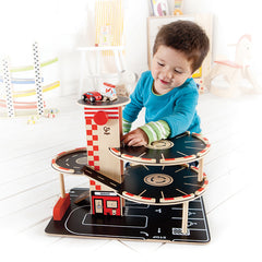 Hape Park and Go Garage Boy Playing