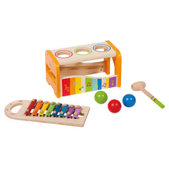 Hape Early Melodies Musical Pound and Tap Bench Contents