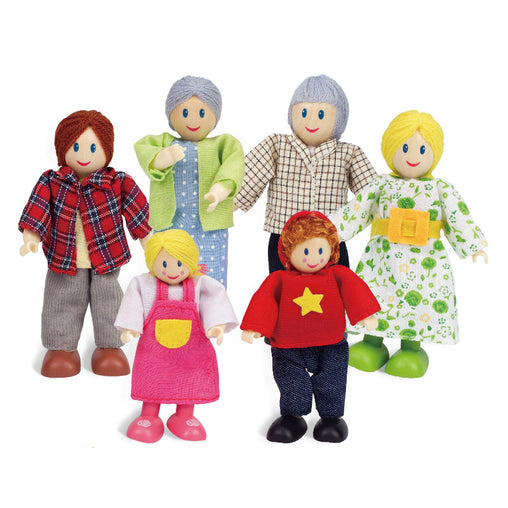 Hape Happy Family Caucasian Wooden Doll Set