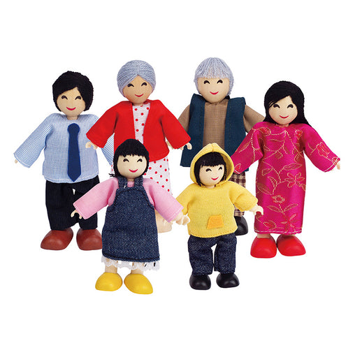 Hape Happy Family Asian Wooden Doll Set