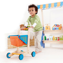 Hape Wooden Shopping Trolley Cart Boy Pushing