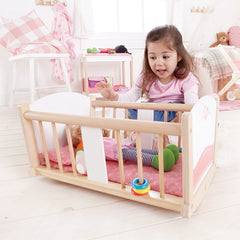 Hape Rock-a-Bye Baby Doll Cradle Cot Bed with Girl