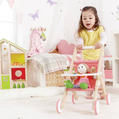 Hape Baby Doll Stroller Pram Girl Pushing