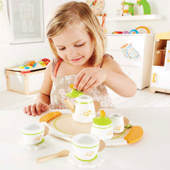 Hape Tea Set for Two Girl Playing 2