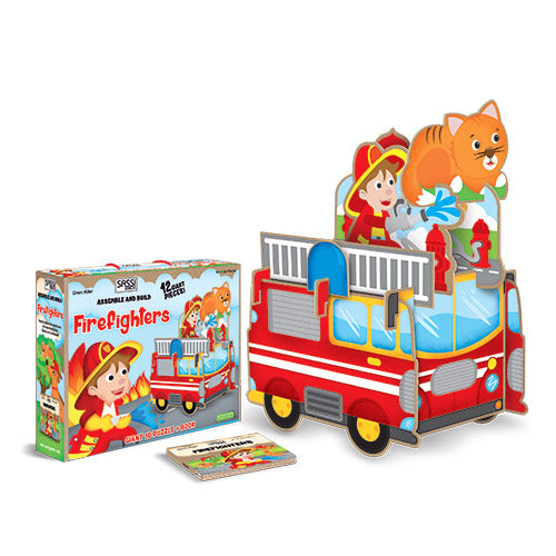 Sassi Junior Firemen 12 Piece Giant 3D Puzzle and Book with Packaging