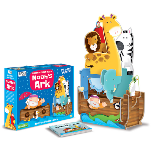 Sassi Junior Noah's Ark 12 Piece Giant 3D Puzzle and Book with Packaging