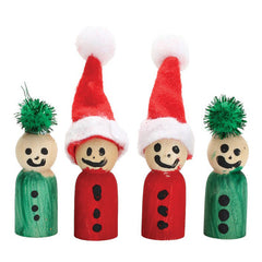 Educational Experience Wooden Peg People Pack of 8 Christmas Themed