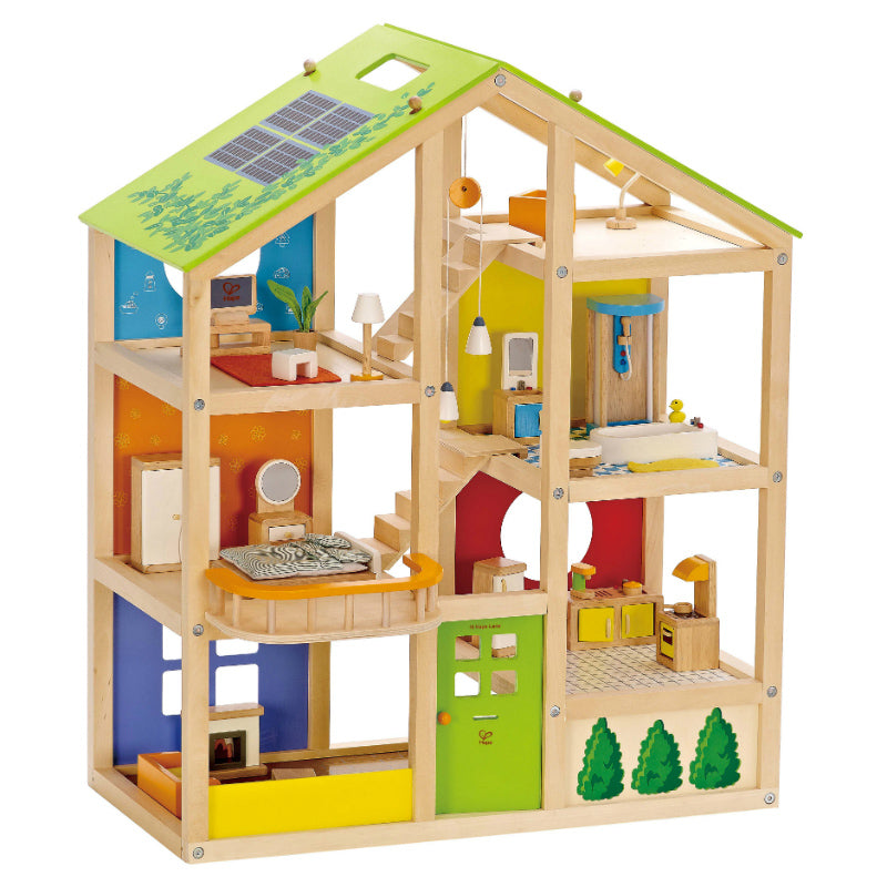 Hape All Seasons Doll House Furnished