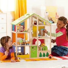 Hape All Seasons Doll House Furnished Children Playing