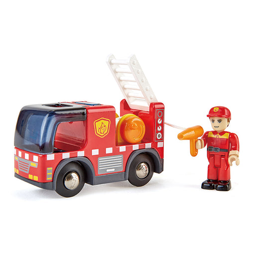 Hape Fire Truck with Siren Fireman Ladder Up