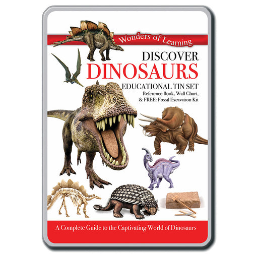 Wonders of Learning Discover Dinosaurs Educational Tin Set Front
