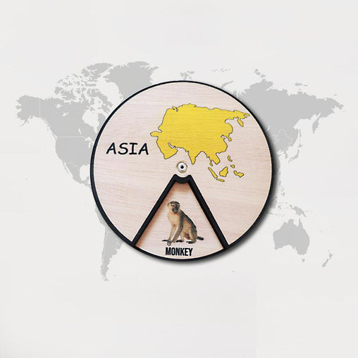 Minisko Learning Wheel Animal & Continents Asia