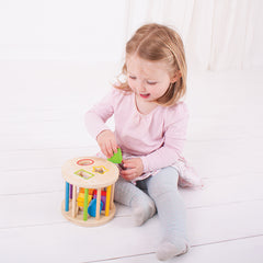 Bigjigs Rolling Shape Sorter Girl Playing 2