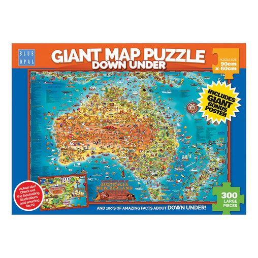 Blue Opal Down Under Australia Giant Map Puzzle Front