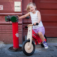 Kinderfeets Balance Bike Red Girl Riding
