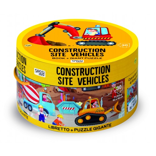 Sassi Junior Book & Giant 30 Piece Puzzle Construction Site Vehicles Box