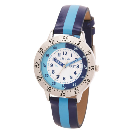 Cactus Watch 30m Time Teacher Striped Dark & Light Blue (CAC-88-M04)