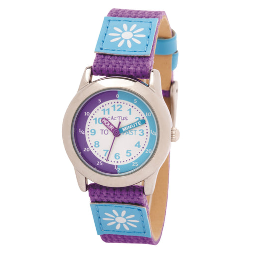 Cactus Watch 30m Time Teacher Purple with Blue Flower (CAC-89-L09)