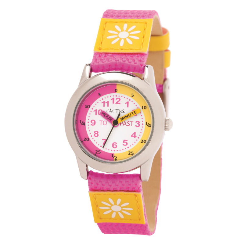 Cactus Watch 30m Time Teacher Pink with Yellow Flower (CAC-89-L55)