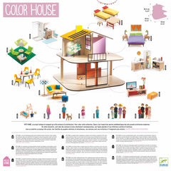 Djeco Wooden Colour Doll House Back Packaging