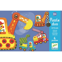 Djeco Puzzle Duo Vehicles 12 pieces Packaging