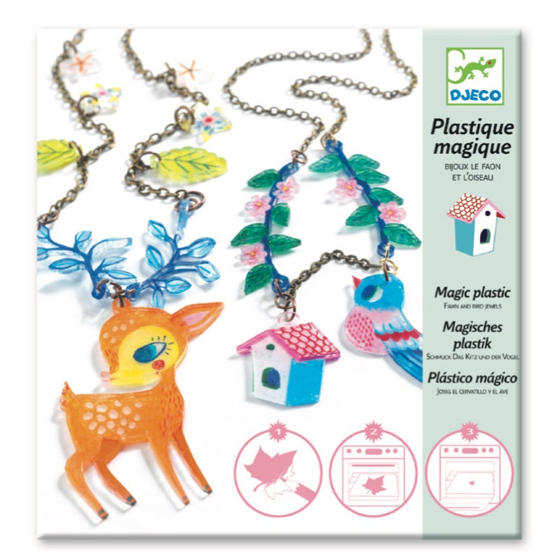 Djeco Shrinky Dinks Fawn and Birds Magic Necklace Craft Kit