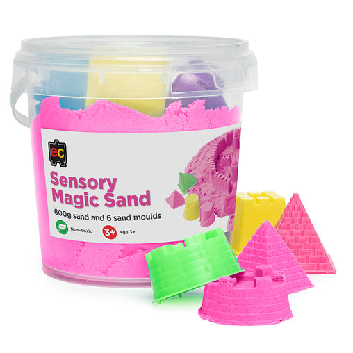 Educational Colours Sensory Magic Sand with Moulds Tub Pink