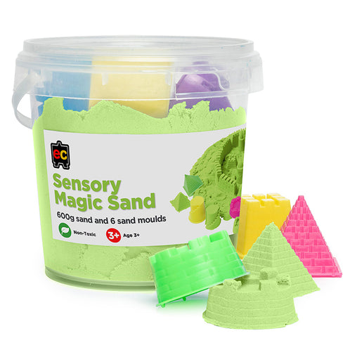 Educational Colours Sensory Magic Sand with Moulds Tub Green