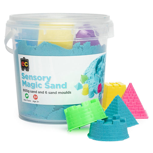 Educational COlours Sensory Magic Sand with Moulds Tub Blue