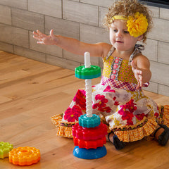 Fat Brain Toys Spin Again Stacking Toy Girl Spinning
