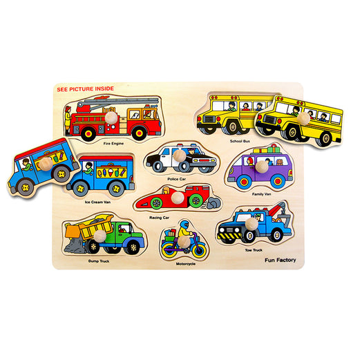 Fun Factory Wooden Peg Puzzle Vehicles