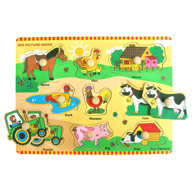 Fun Factory Wooden Peg Puzzle Farm